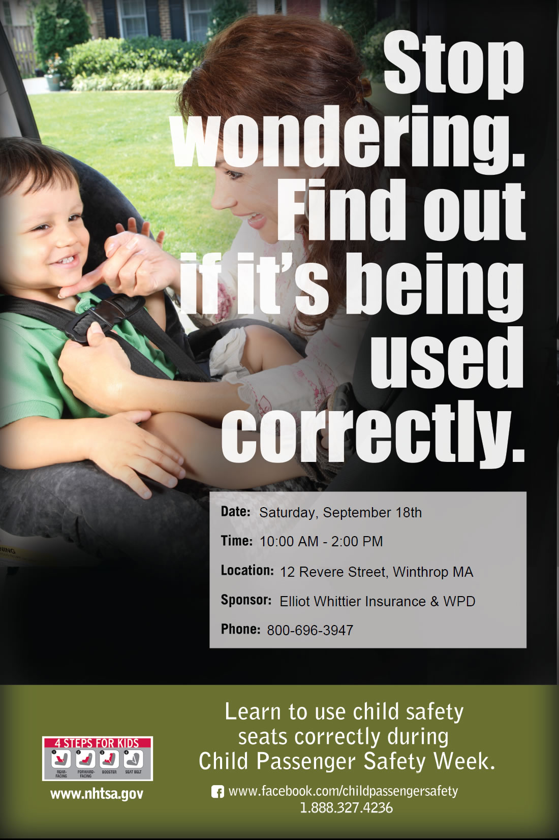 On Saturday September 18th With The Cooperation Of Winthrop Police Department Free Car Seat Inspections Will Be Held At Elliot Whittier Insurance