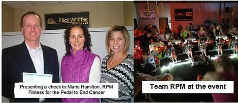 Pedal to End Cancer 2013.  Steve Roy, Marie Hamilton RPM Fitness, Suzanne Chiudina