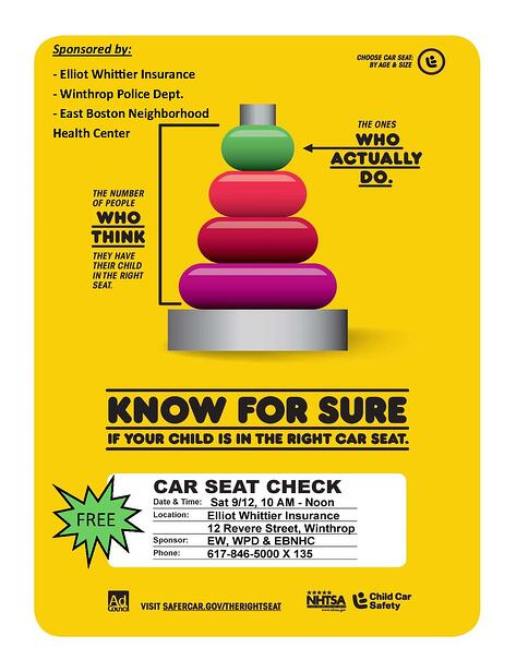Infant and Child Car seat safety check to be performed in Winthrop MA at Elliot Whittier Insurance Agency