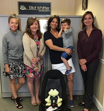 Car Seat raffle winner from Elliot Whittier Insurance