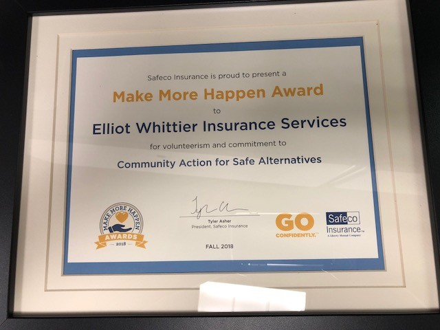 Elliot Whittier is presented a Make More Happen Award from Safeco Insurance for it's commitment to CASA.  Here's how you can help CASA increase their $5K grant to $10K!