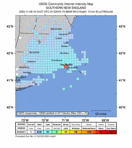 USGS EQ Nov 2020 Map showing where reports originated