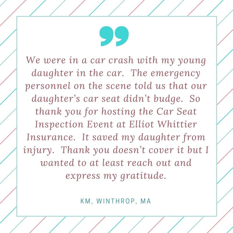 Testimonial regarding Car Seat Inspection at Elliot Whittier Insurance