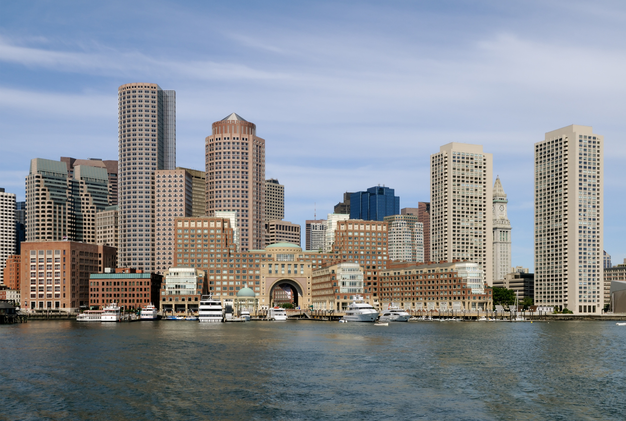 Pictured here is a panoramic view of the waterfront of the city of Boston.   Local independent Trusted Choice Insurance Agency serving the community for over 135 years