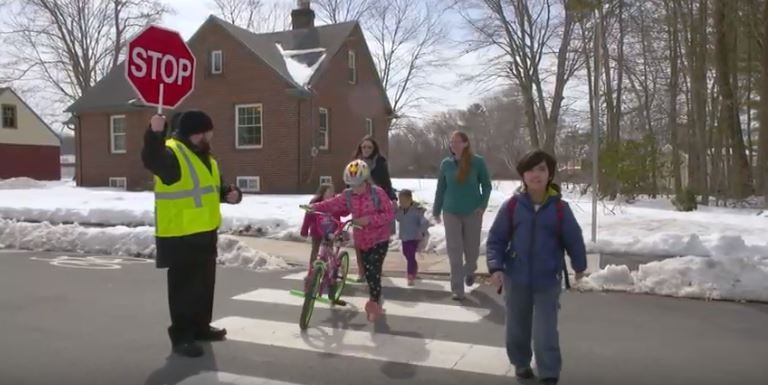 How to help keep kids safe while walking to school.  Image courtesy of MassDOT
