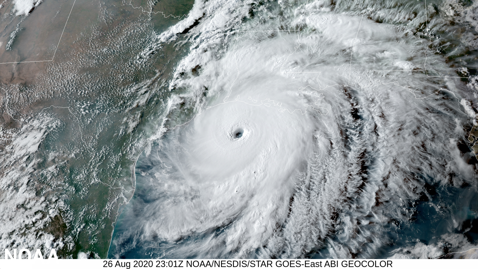 2021 Atlantic hurricane season starts June 1.  photo from NOAA depicting an image of Hurricane Laura on August 26, 2020 at it approached the Gulf Coast.