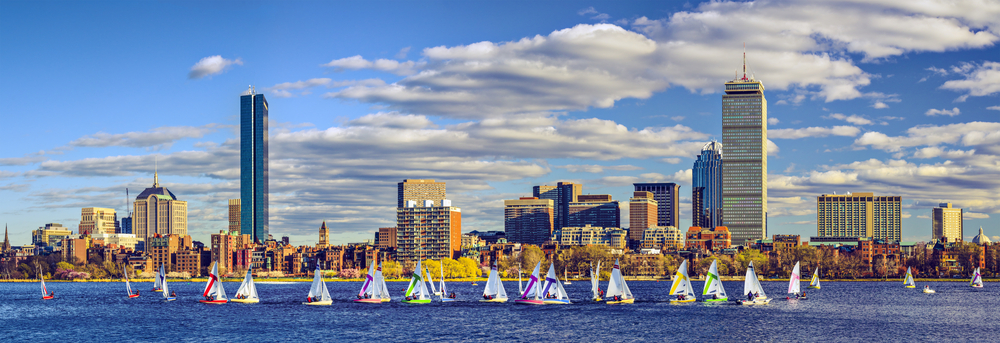 Boating in Boston, Massachusetts skyline panorama photo by shutterstock