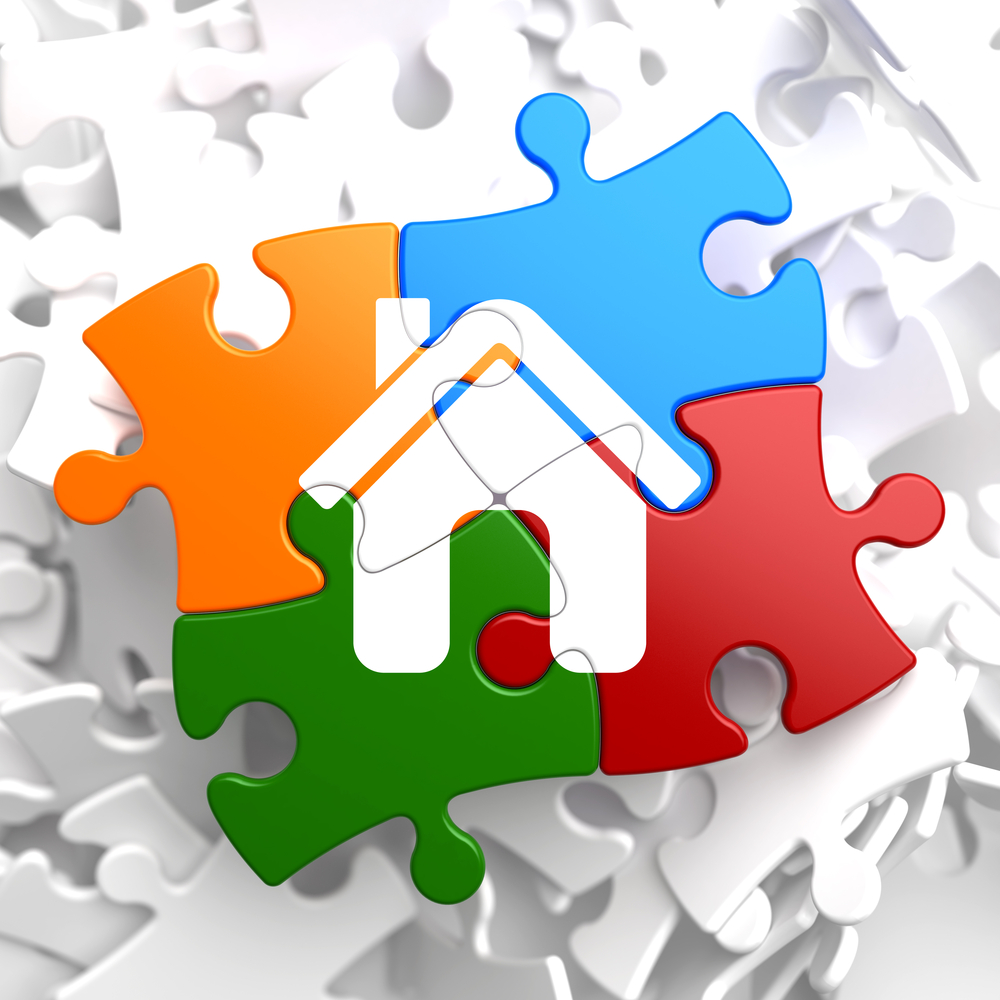 Massachusetts home insurance Home Icon on Multicolor Puzzle. Hubspot stock image