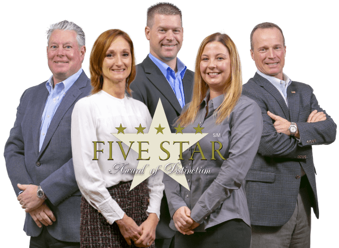 This is a photo of the 5 leaders of Elliot Whittier Insurance.  Wayne Guyer, Amy Olevitz, Andrew Bierschied, Casey Correa, and Steve Roy.  The logo of the Five Star Award of Distinction is superimposed on top of the group photo.